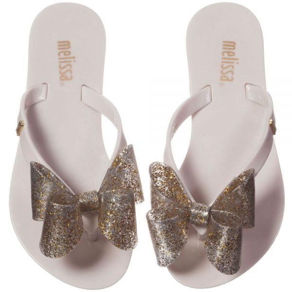 MINI MELISSA Ivory Jelly Flip-Flops with Bow2