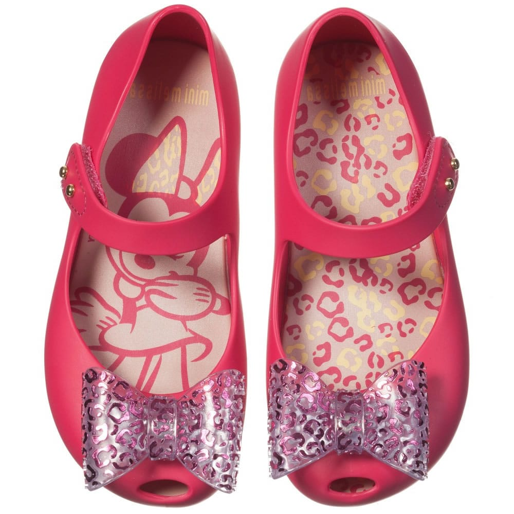 Mini Melissa Pink Minnie Mouse Jelly Shoes With Bow