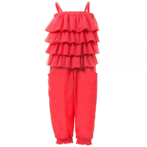 MISS BLUMARINE Coral Pink Jumpsuit with Ruffle Top