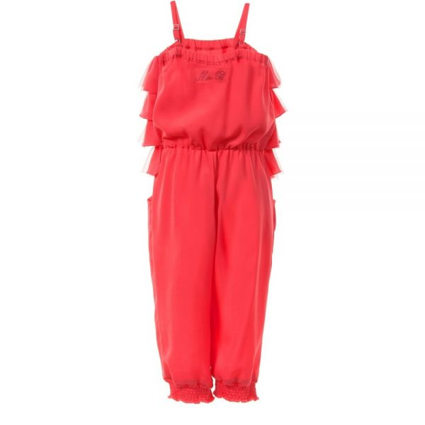 MISS BLUMARINE Coral Pink Jumpsuit with Ruffle Top1