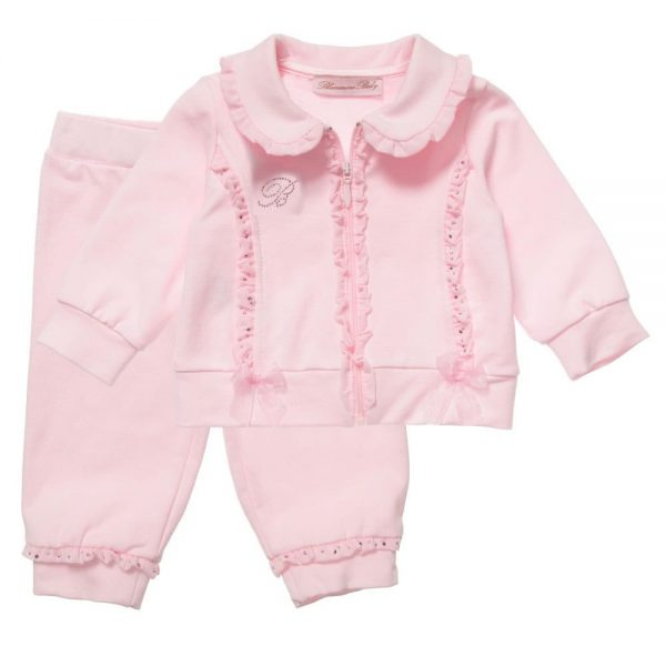 MISS BLUMARINE Girls Pink Frill & Diamante Trim Tracksuit1