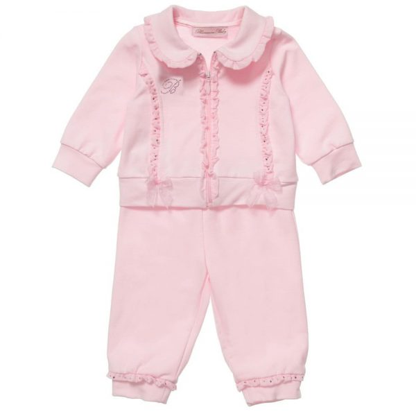 MISS BLUMARINE Girls Pink Frill & Diamante Trim Tracksuit2
