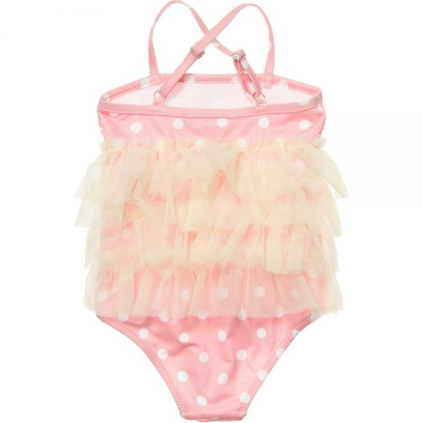 MISS BLUMARINE Pink Swimsuit with Yellow Tulle Trim1