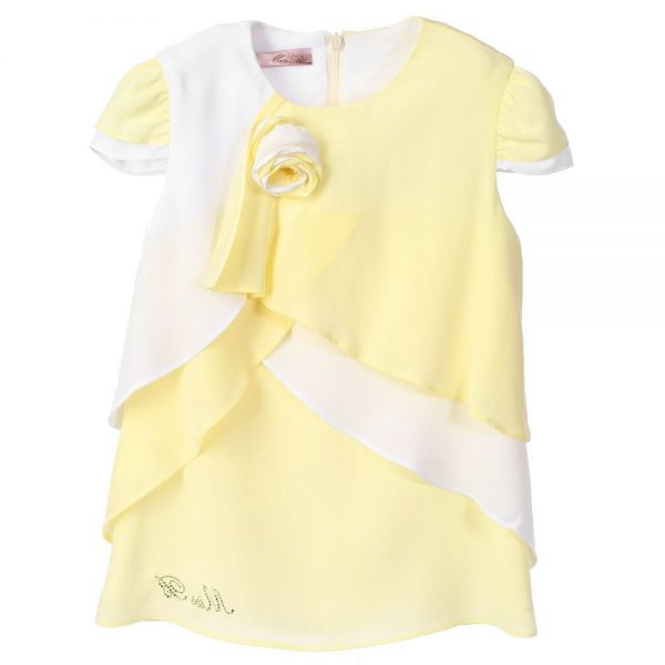 MISS BLUMARINE Yellow & White Chiffon Blouse