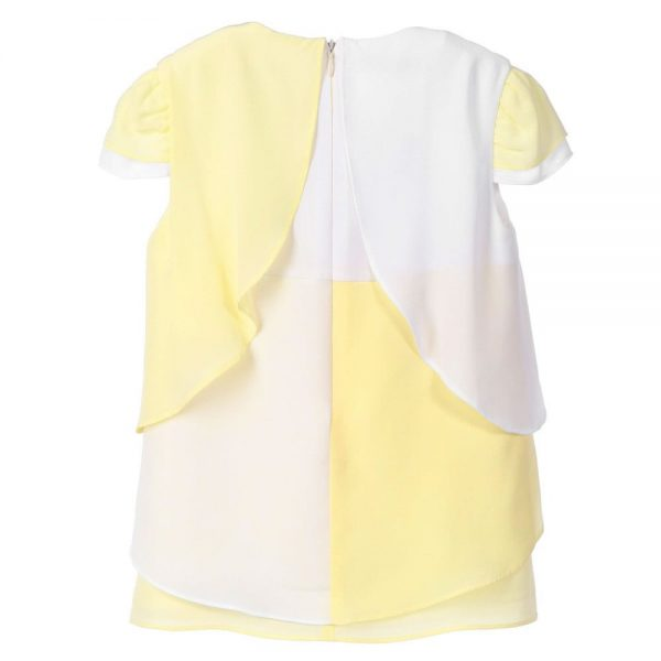 MISS BLUMARINE Yellow & White Chiffon Blouse1