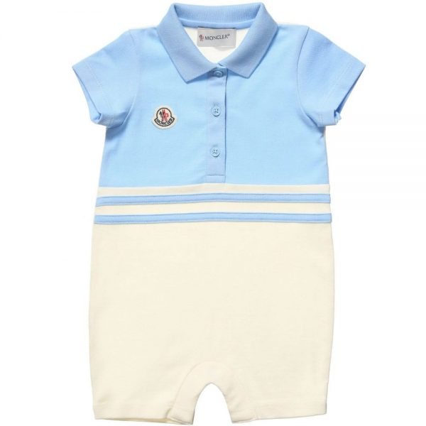 5996c6a19 MONCLER Baby Boys Blue & Ivory Polo Shortie