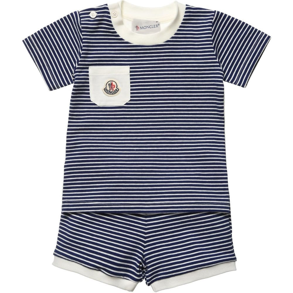 6b9c45655 MONCLER Baby Boys Navy Blue Striped T-Shirt   Shorts - Children Boutique