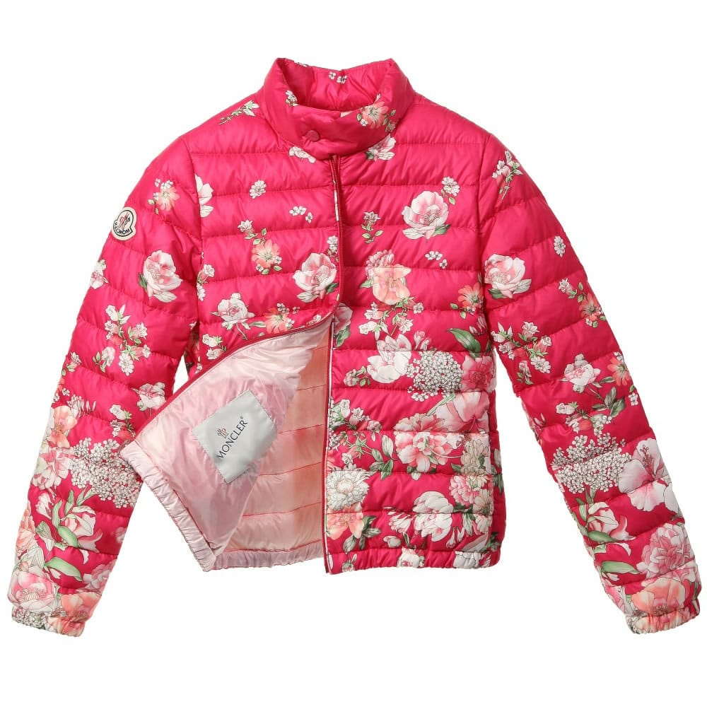 3fdfe00d66d1 MONCLER Girls Pink Floral Down Padded  Alisia  Jacket - Children ...