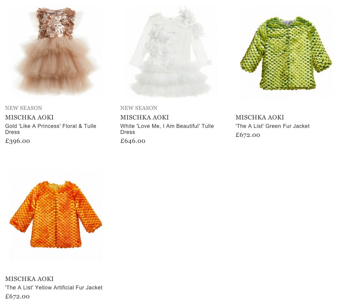 Mischka Aoki Luxery Girls Clothing
