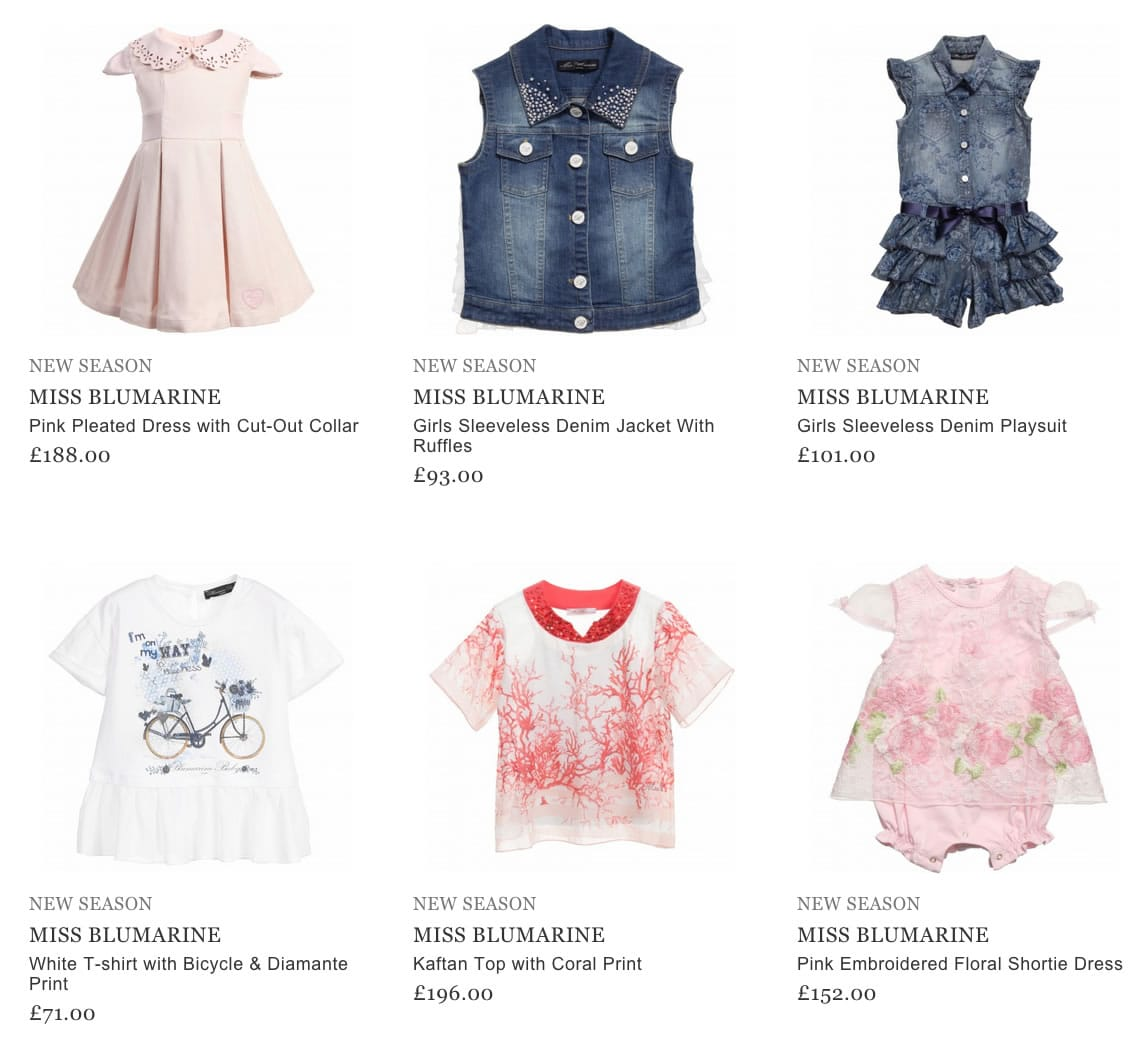 Miss Blumarine Girls Clothing