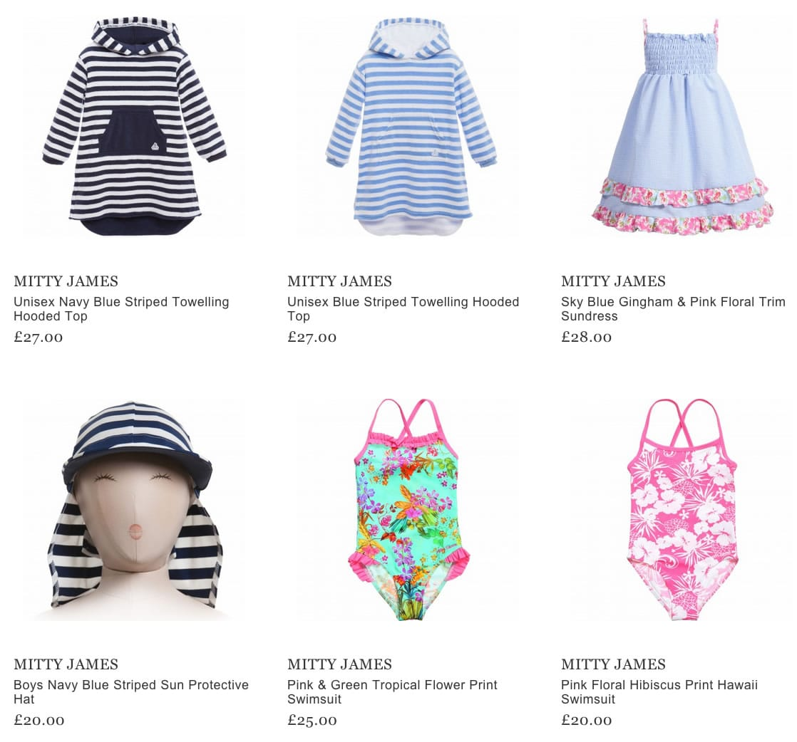 Mitty James Children's Beachwear & Swimwear