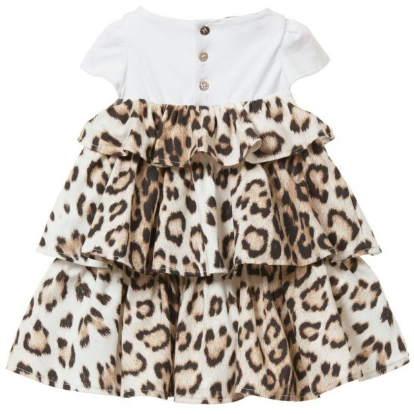 ROBERTO CAVALLI Baby Girls 'Brown Leopard' Ruffle Dress 1