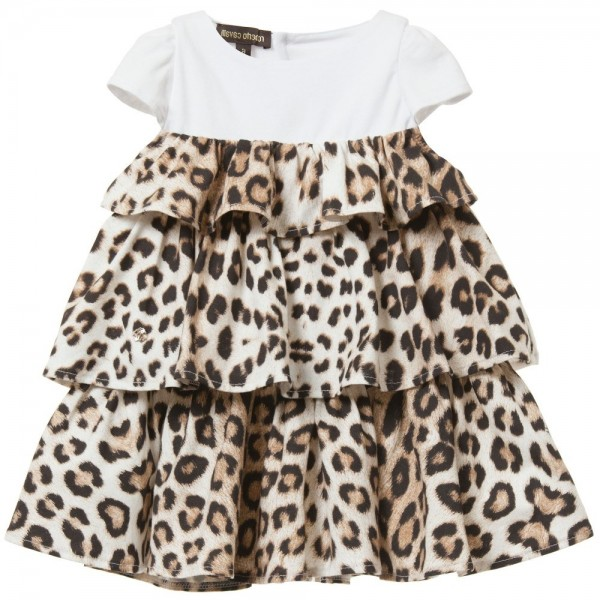 ROBERTO CAVALLI Baby Girls 'Brown Leopard' Ruffle Dress
