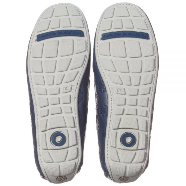 ROBERTO CAVALLI Unisex White & Navy Blue Leather 'RC' Loafers 2