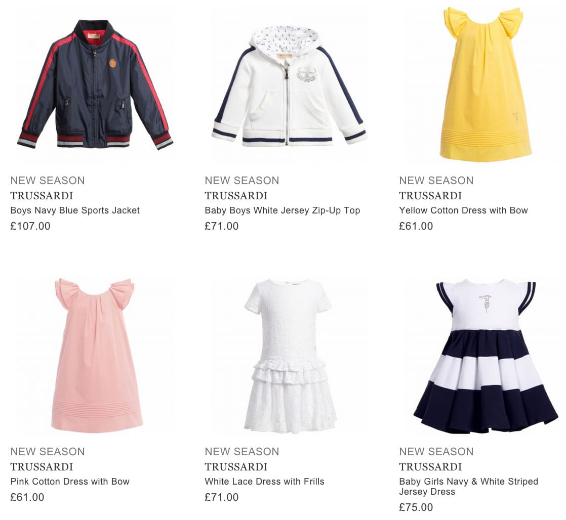 TRUSSARDI designer kids clothing