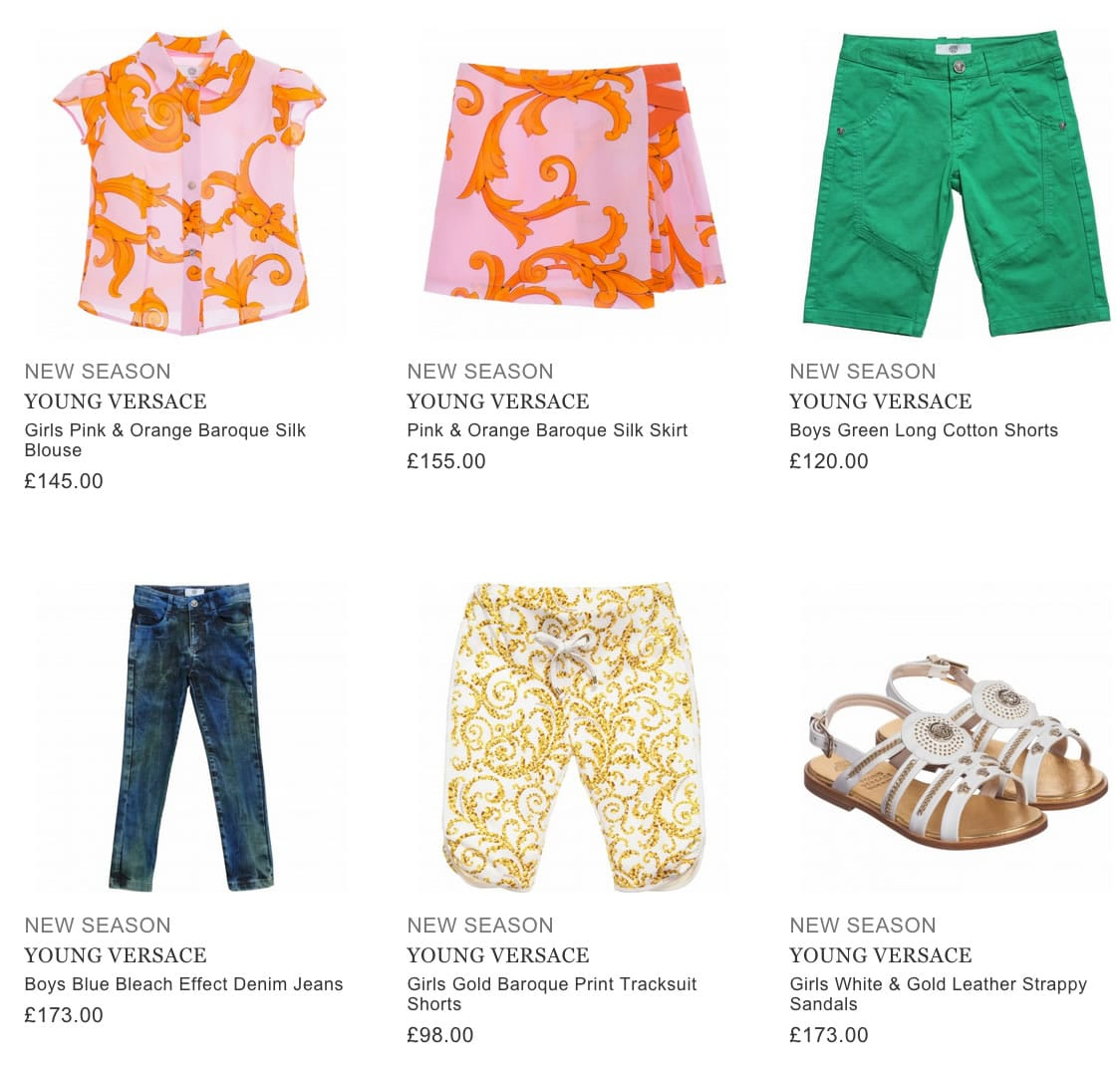 YOUNG VERSACE designer children clothing
