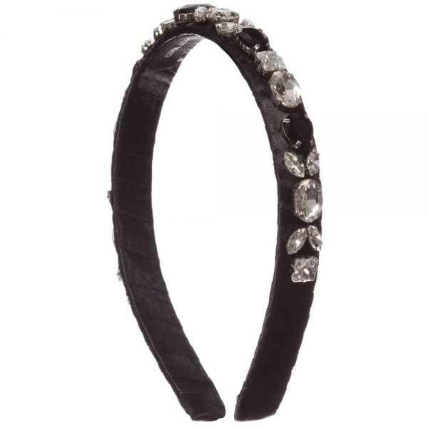 DAVID CHARLES Black Jewelled Hairband