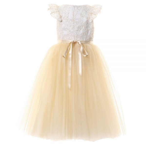 DAVID CHARLES Gold Lace & Tulle Dress 3
