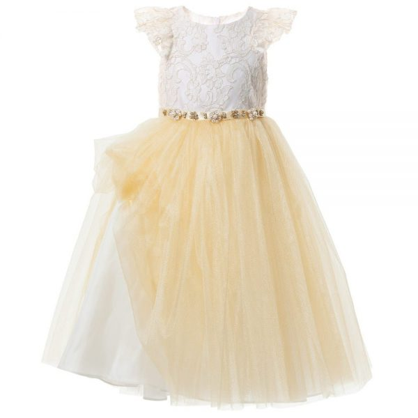 DAVID CHARLES Gold Lace & Tulle Dress 4