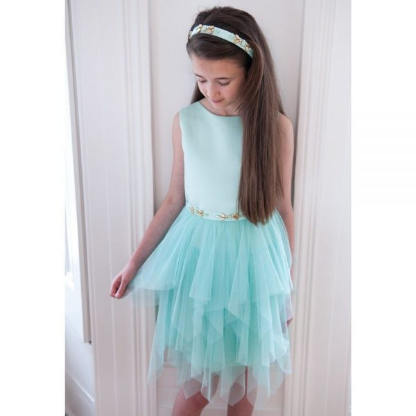 DAVID CHARLES Pale Turquoise Satin & Tulle Glitter Dress 2