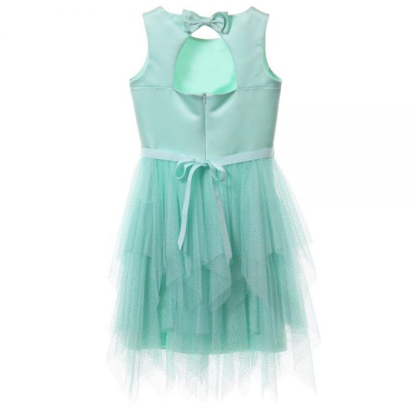DAVID CHARLES Pale Turquoise Satin & Tulle Glitter Dress 3