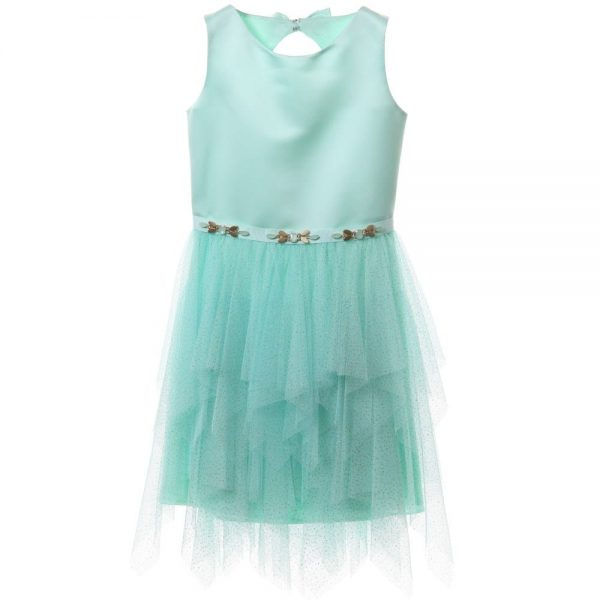 DAVID CHARLES Pale Turquoise Satin & Tulle Glitter Dress