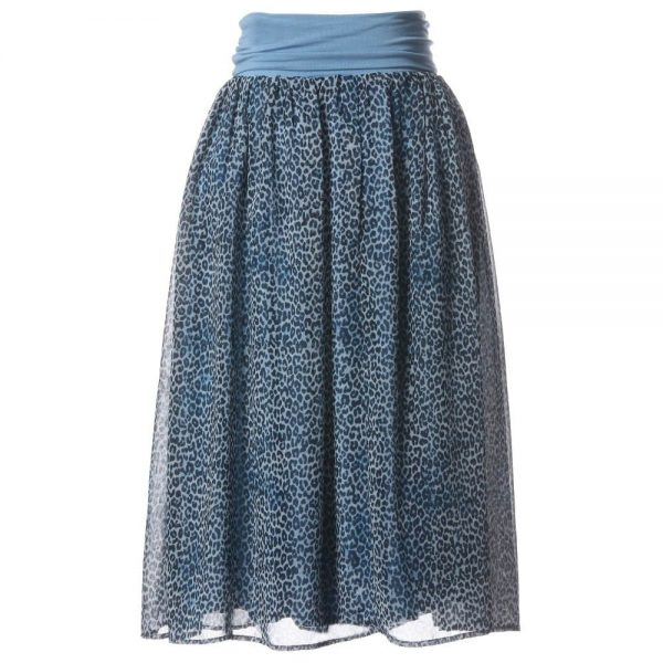 DENNY ROSE YOUNG Blue Leopard Print Skirt 1