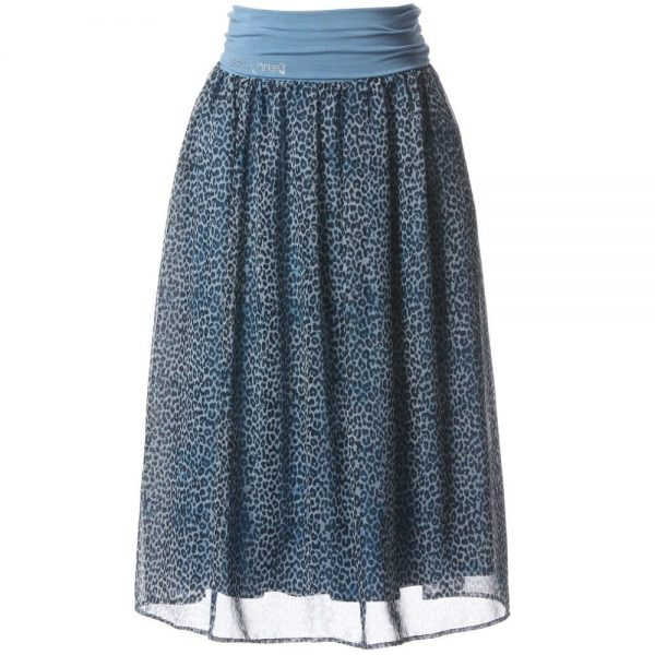 DENNY ROSE YOUNG Blue Leopard Print Skirt