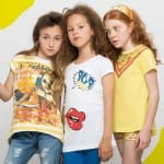 DENNY ROSE YOUNG Girls Yellow Striped Cotton T-Shirt 1