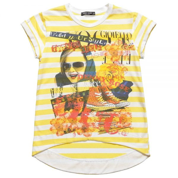 DENNY ROSE YOUNG Girls Yellow Striped Cotton T-Shirt