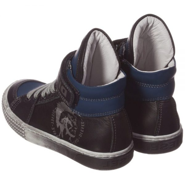 DIESEL KIDS Boys Blue & Black Leather High-Top Trainers 1