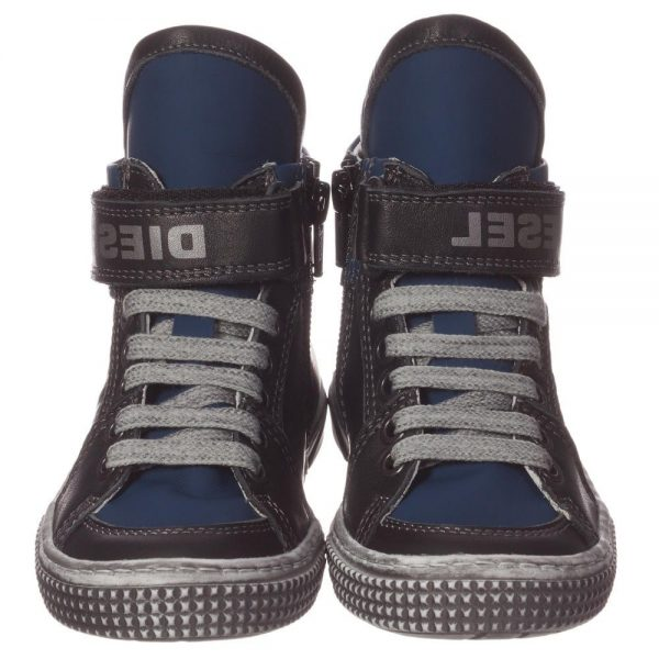 DIESEL KIDS Boys Blue & Black Leather High-Top Trainers 2