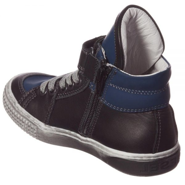 DIESEL KIDS Boys Blue & Black Leather High-Top Trainers 3