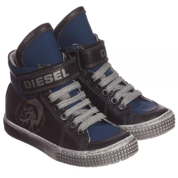 DIESEL KIDS Boys Blue & Black Leather High-Top Trainers