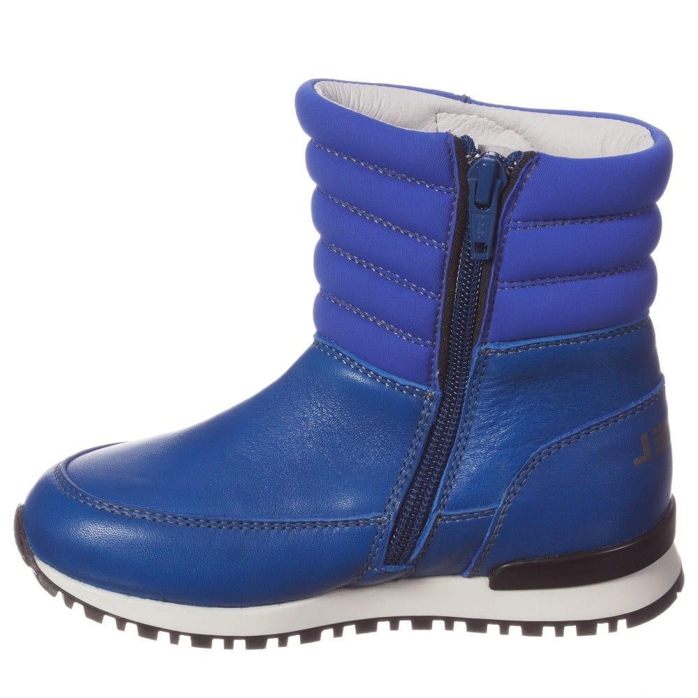 DIESEL KIDS Boys Bright Blue Leather Zip-Up Boots ...