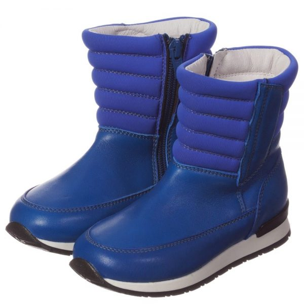 DIESEL KIDS Boys Bright Blue Leather Zip-Up Boots
