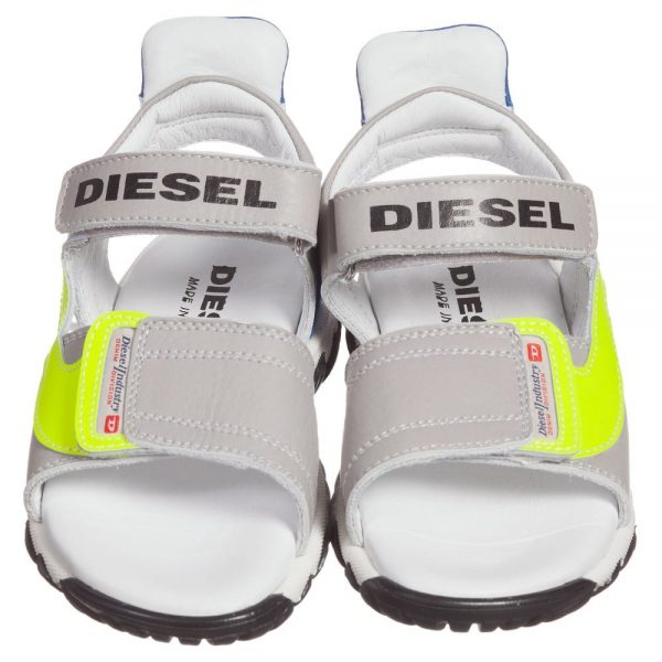 DIESEL KIDS Boys Grey Leather Velcro Sandals with Neon Trim 1