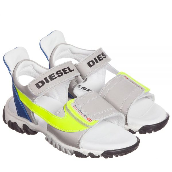 DIESEL KIDS Boys Grey Leather Velcro Sandals with Neon Trim