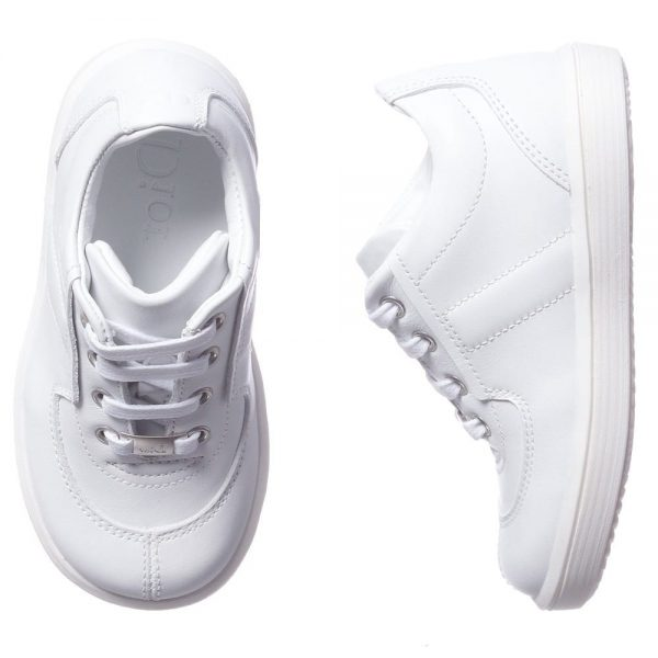DIOR Boys White Leather Trainers 1