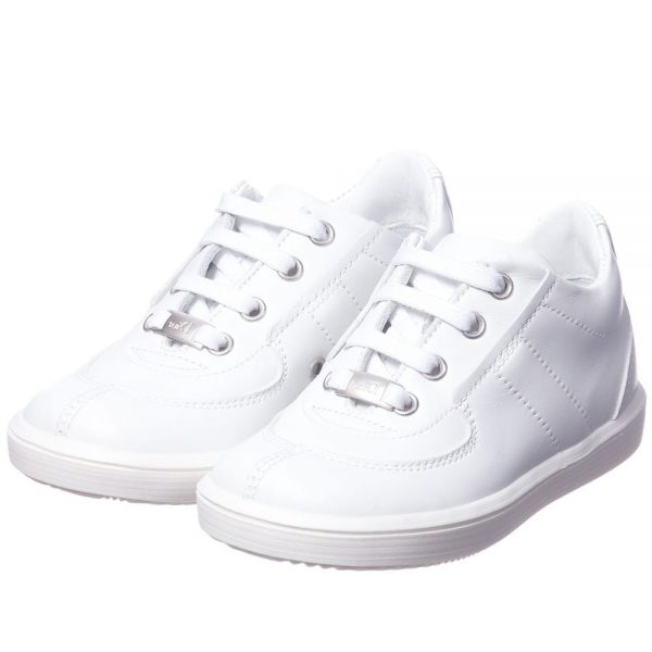 DIOR Boys White Leather Trainers