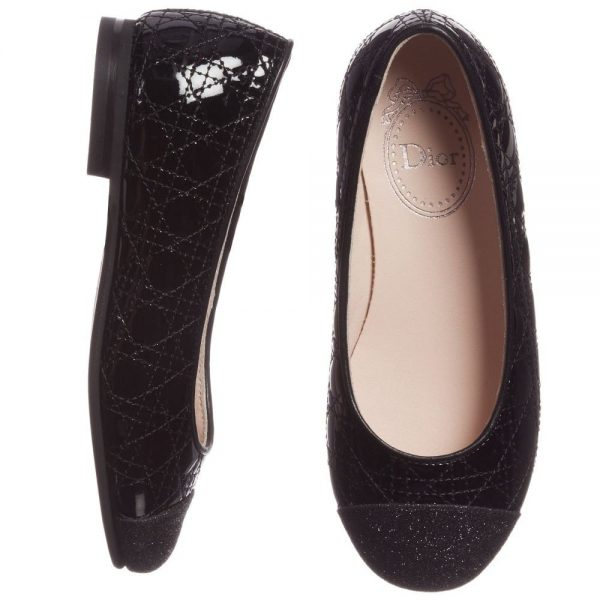 DIOR Girls Black Patent Leather 'Cannage' Shoes 1