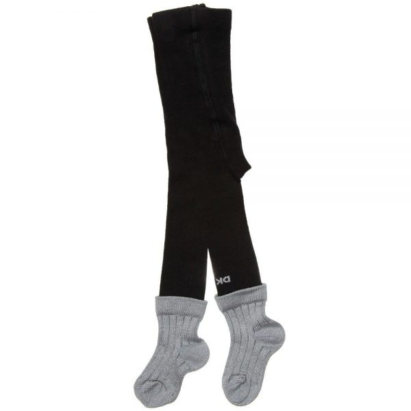 DKNY Baby Girls Black Tights with Silver Socks