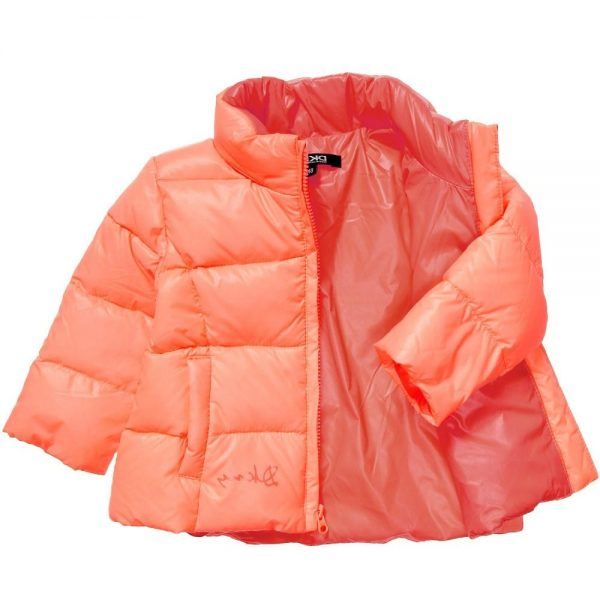 DKNY Baby Girls Orange Down Padded Coat 2