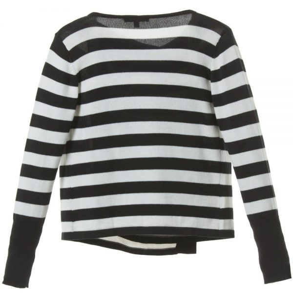 DKNY Girls Black & White Striped Knitted Cardigan 1