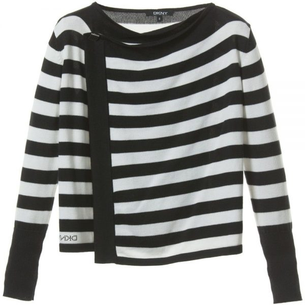 DKNY Girls Black & White Striped Knitted Cardigan