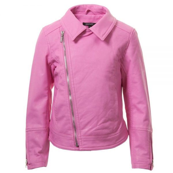 DKNY Girls Pink Biker Jacket 2