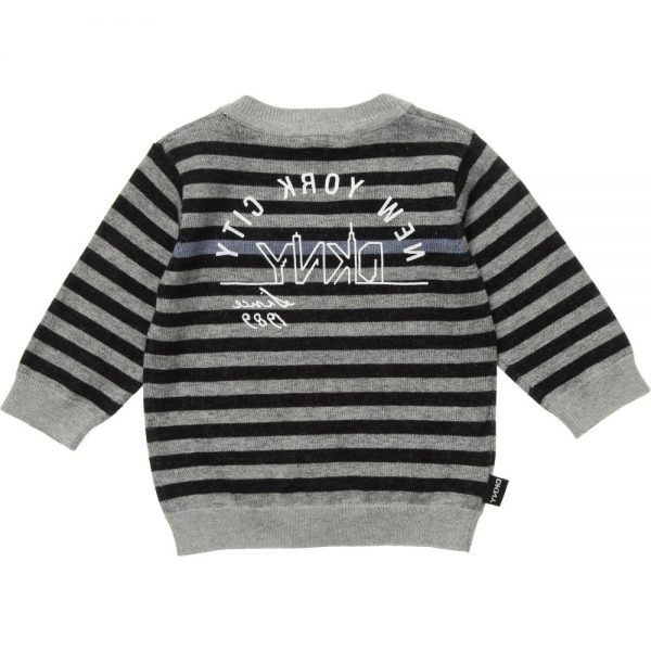 DKNY Grey & Black Striped Knitted Cotton Cardigan 1