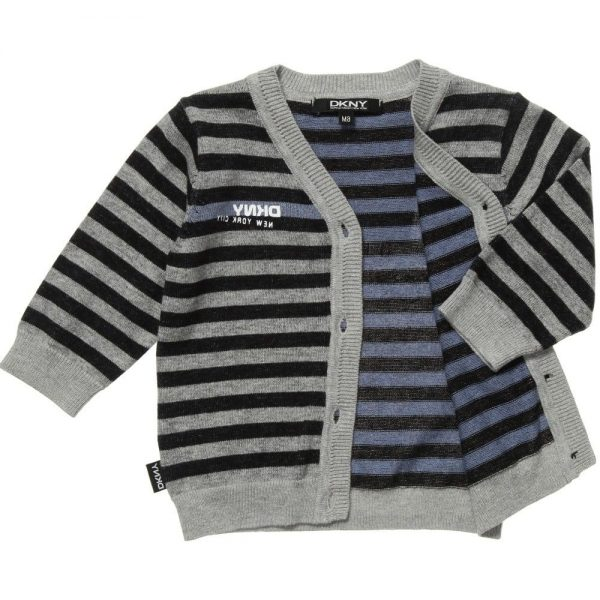 DKNY Grey & Black Striped Knitted Cotton Cardigan 2