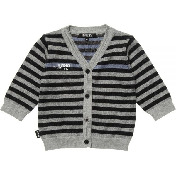 DKNY Grey & Black Striped Knitted Cotton Cardigan