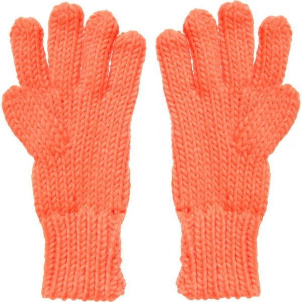 DKNY Neon Orange Knitted Gloves 1
